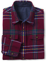 Lands' End Toddler Boys Flannel Shirt-Burgundy Plaid