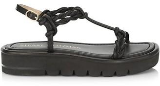 Stuart Weitzman Calypso Lift Leather Platform Sandals