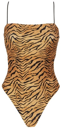 Vix Tiger Print Lace-Up Swimsuit