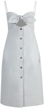 Proenza Schouler White Label Light Grey Knotted Top Leather Dress