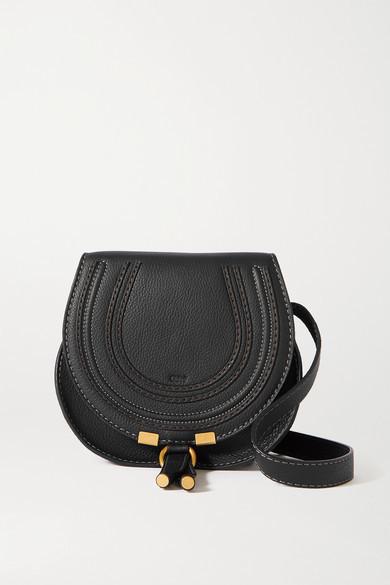 Chloé Marcie Mini Textured-leather Shoulder Bag - Black