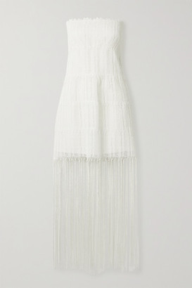 ZEUS + DIONE Corfu Strapless Fringed Crochet-knit Mini Dress - Cream