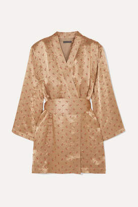 ALEXACHUNG Floral-jacquard Wrap Mini Dress - Gold