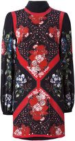 Alexander McQueen floral table cloth mini dress with scarf detail