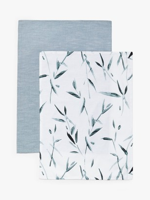 John Lewis & Partners Kajo Leaf Print Tea Towels, Pack of 2, Blue