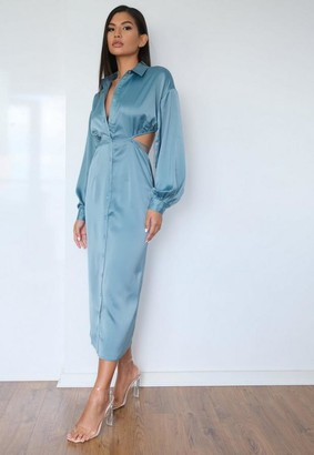 Missguided Teal Satin Cut Out Tie Back Midi Shirt Dress