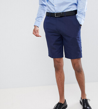 Farah Smart skinny wedding suit shorts in linen Exclusive at ASOS-Navy
