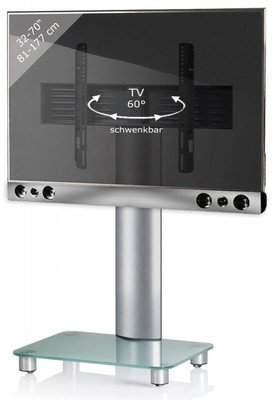 "VCM TV Pedestal + Soundbar Holder Presentation Bracket Stand 32""-70""""SBM700 Swivel with Wheels Silver/Matt Glass"