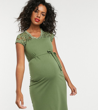 Mama Licious Mamalicious lace panelled midi dress