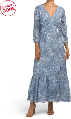 Vintage Paisley Print Tiered Maxi Dress