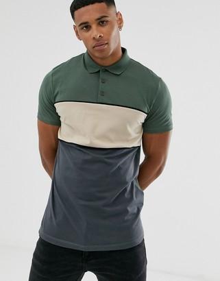 Asos Design DESIGN polo shirt with color block in khaki-Green