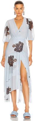 Ganni Printed Mesh Dress in Heather | FWRD