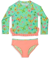 Hula Star Girls' Butterfly Print Rashgaurd 2-Piece Swimsuit - Little Kid