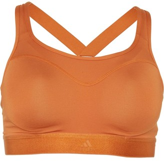 adidas Womens Stronger For It Climalite Racer Sports Bra Top Tech Copper