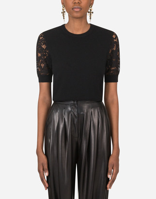 Dolce & Gabbana Short-Sleeved Cashmere Sweater With Lace Detailing