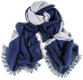 Black Navy and Grey Double Faced Cashmere Scarf