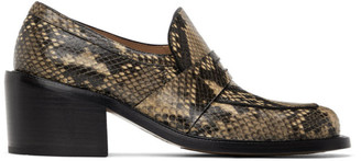 Dries Van Noten Beige and Black Snake Heeled Loafers