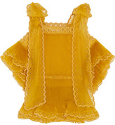 Chloé Layered Plissé Silk-organza Top - Mustard