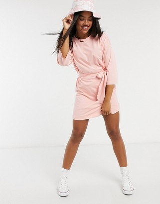 Monki Alexa organic cotton t-shirt mini dress in pink