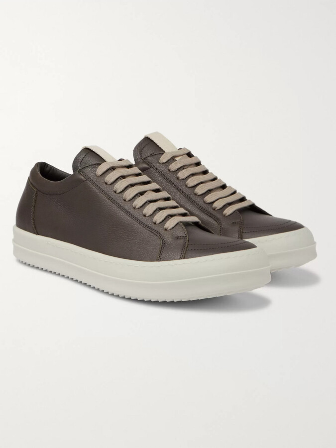 Thumbnail for your product : Rick Owens Grosgrain-Trimmed Leather Sneakers