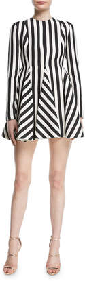 Valentino Re-Edition Jewel-Neck Long-Sleeve Striped Fit-and-Flare Dress
