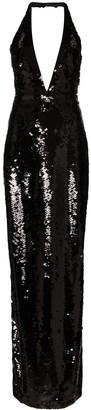Tom Ford halterneck low V-neck sequin gown