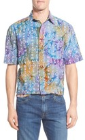 Vintage 1946 Men's Regular Fit Short Sleeve Seersucker Batik Stripe Print Sport Shirt