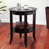 Frenchi Furniture-Wood Genoa End Table, Round Side /Accent Table , Inset Glass Espresso