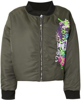 Natasha Zinko Embroidered Motif Cropped Bomber Jacket