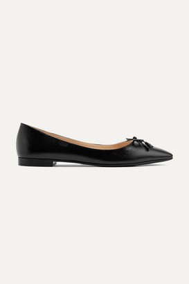 Prada Textured-leather Ballet Flats - Black