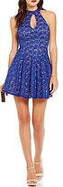 B. Darlin Choker Neckline Keyhole Lace Skater Dress