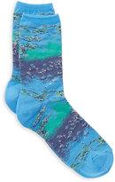 Hot Sox Women's Monet Waterlilies Print Trouser Socks