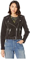 Levi's Faux Suede Moto Jacket with Belt (Charcoal) Women's Clothing