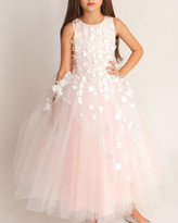 By Zoé White Label Girl's Lauren 3D Flower Embellished Tulle Dress, Size 4-12