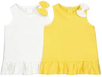 La Redoute Collections Pack of 2 Cotton Vest Tops with Bow Trim, 1 Month-4 Years