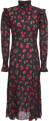 Michael Kors Ruffle-trimmed Gathered Floral-print Crepe Midi Dress