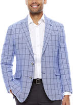 STAFFORD Stafford Linen Cotton Blue Windowpane Sport Coat- Classic Fit