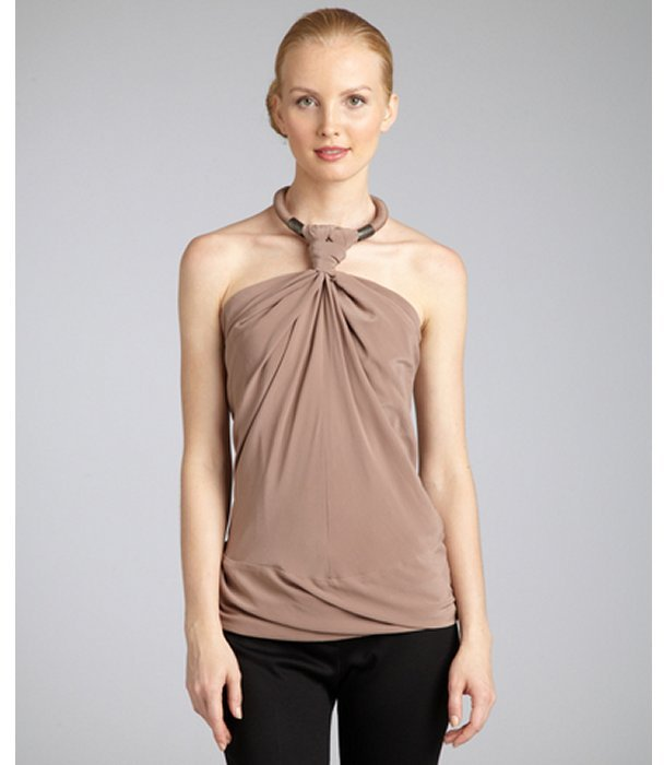Kaufman Franco KAUFMANFRANCO wilted rose sandwashed silk knotted halter blouse