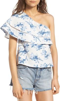 J.o.a. Linen One-Shoulder Top