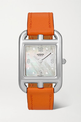 Mother of Pearl Hermès Timepieces Hermes Timepieces - Cape Cod 23mm Small Stainless Steel, Leather, Mother-of-pearl And Diamond Watch - Silver