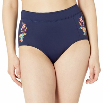 Johnny Was Women's High Waisted Bikini Bottom with Multicolored Embroidery