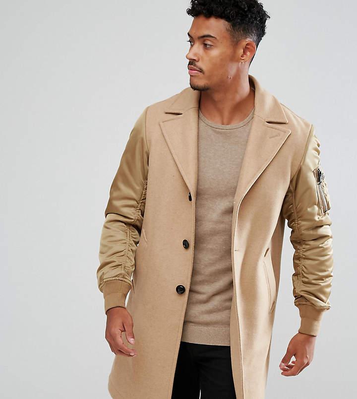 Diesel Camel Coat Contrast Sleeves