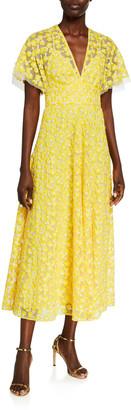 Lela Rose Floral Embroidered Tulle Flutter-Sleeve Dress