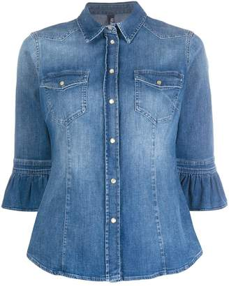 Liu Jo Ruffled-Cuff Denim Shirt