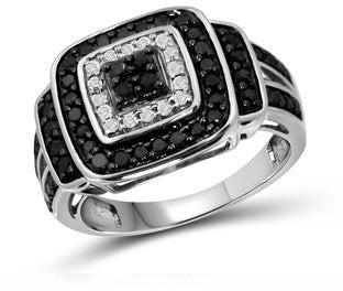 Jewelonfire Sterling Silver 1ct Diamond Split Shank Ring - Black