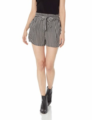 Angie Women's Striped Paperbag Waist Belted Shorts