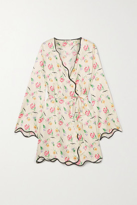 Morgan Lane Anabelle Floral-print Crepe Robe - Cream