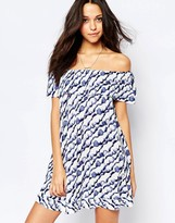 BA&SH Firma Off Shoulder Ruffle Dress in Blue Print