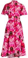 Alexander McQueen Orchid Print Silk Midi Dress