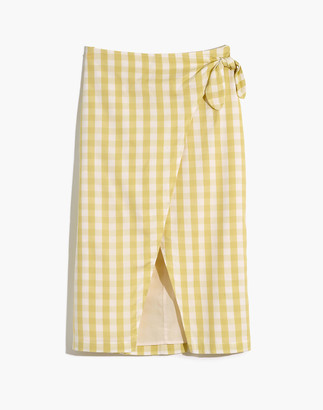 Madewell Sarong Midi Skirt in Gingham Check